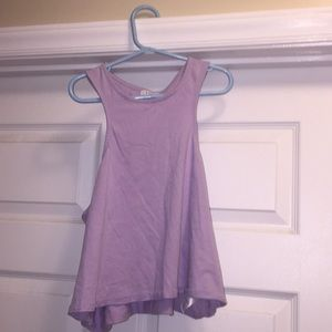Light purple crop top with heart cut out